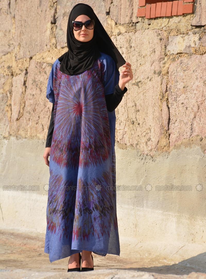 d49fa940733 Bleu marine - Indigo - Ethnique - Tissu non doublé - Coton - Robe