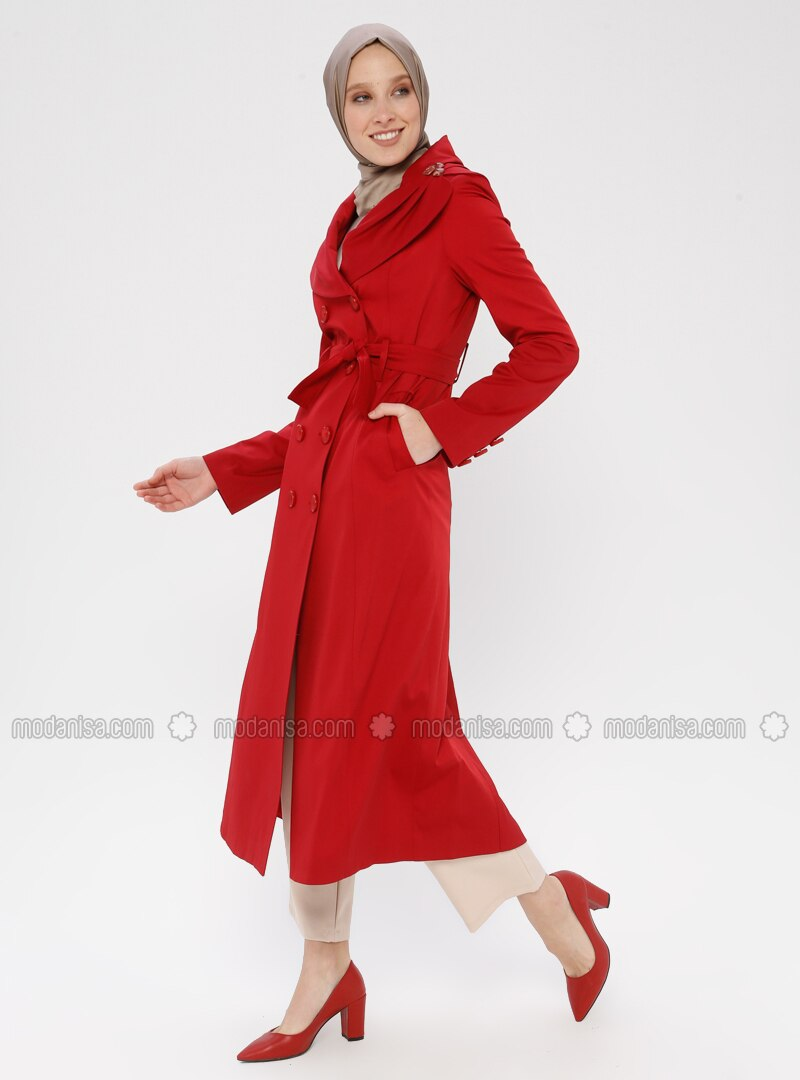 Red - Fully Lined - Shawl Collar - Trench Coat