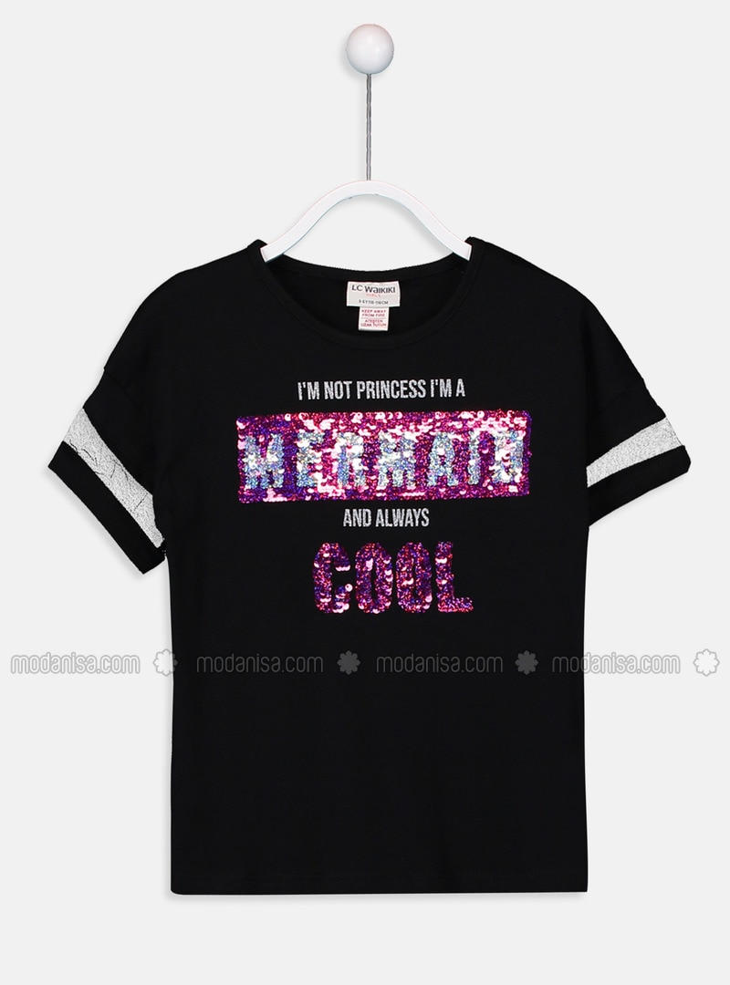 Black - Crew neck - Girls` T-Shirt