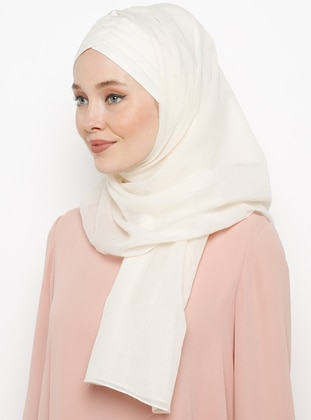 Beige - Plain - Cotton - Instant Scarf