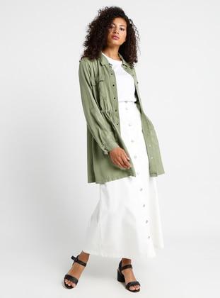White - Ecru - Unlined - Cotton - Denim - Skirt