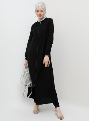 Black - Unlined - Crew neck - Viscose - Abaya