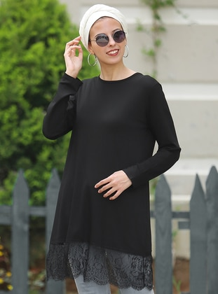 Black - Crew neck - Cotton - Acrylic - Tunic
