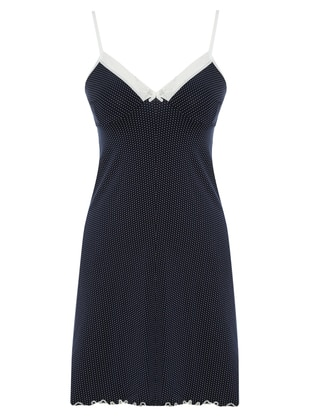 Navy Blue - Polka Dot - V neck Collar - Cotton - Nightdress