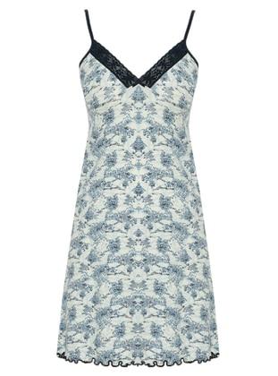 Blue - White - Multi - V neck Collar - Cotton - Nightdress