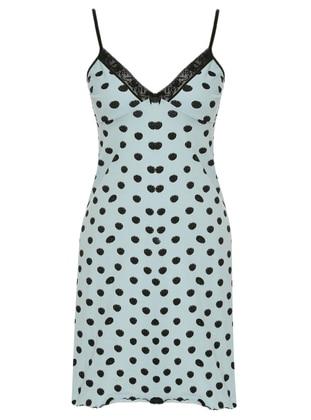 Blue - Black - Polka Dot - V neck Collar - Cotton - Nightdress