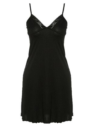 Black - Lilac - Polka Dot - V neck Collar - Cotton - Nightdress - AKBENİZ