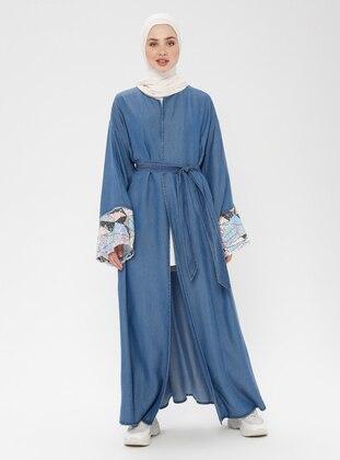 Blue - Navy Blue - Unlined - Cotton - Denim - Abaya