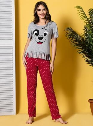 Multi - Crew neck - Multi - Cotton - Pyjama - Siyah inci