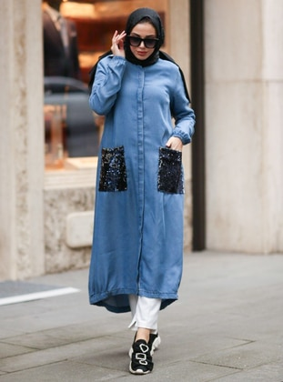 Blue - Button Collar - Cotton - Denim - Tunic