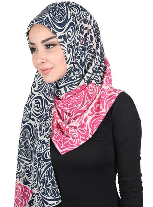 Navy Blue - Fuchsia - Printed - Instant Scarf