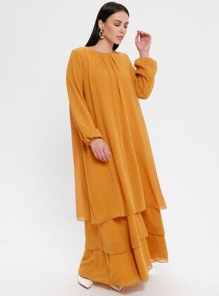 Black - Mustard - Crew neck - Fully Lined - Dress