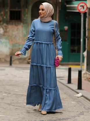 Blue - Navy Blue - Crew neck - Unlined - Cotton - Denim - Dress