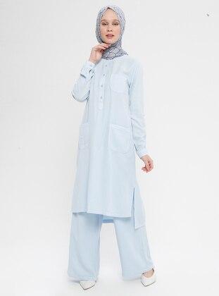 Blue - Baby Blue - Unlined - Cotton - Denim - Suit