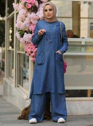 Blue - Navy Blue - Unlined - Cotton - Denim - Suit