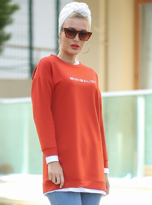 Terra Cotta - Crew neck - Cotton - Tunic