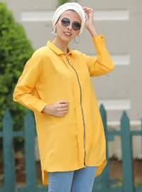 Mustard - Point Collar - Cotton - Acrylic - Cardigan