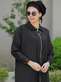 Black - Point Collar - Cotton - Acrylic - Cardigan