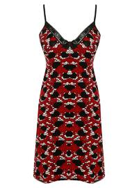 Red - Black - Multi - V neck Collar - Cotton - Nightdress