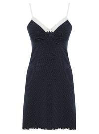 Navy Blue - Polka Dot - V neck Collar - Cotton - Nightdress