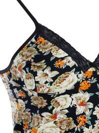 Navy Blue - Floral - V neck Collar - Cotton - Nightdress