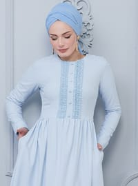 Blue - Baby Blue - Crew neck - Unlined - Viscose - Dress