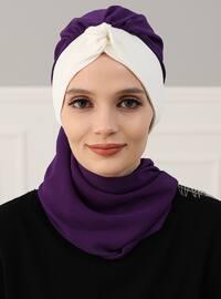 Purple - Cream - Plain - Instant Scarf