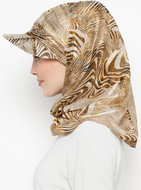 Brown - Printed - Instant Scarf