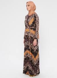 Kahverengi - Bej - Leopar - Çok Renkli - V Yaka - Astarlı - Elbise