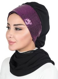 Black - Purple - Plain - Instant Scarf