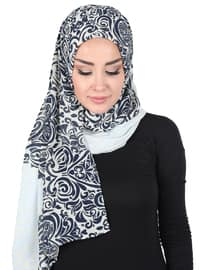 Blue - Navy Blue - Printed - Instant Scarf