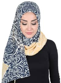 Yellow - Navy Blue - Printed - Instant Scarf