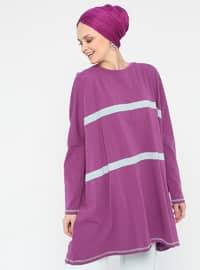 Purple - Stripe - Crew neck - Cotton - Tunic