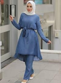 Mavi - Lacivert - Astarsız Kumaş - Pamuk - Kot - Takım Elbise