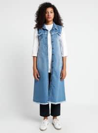 Blue - Navy Blue - Unlined - Point Collar - Cotton - Denim - Vest