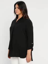 Black - V neck Collar - Plus Size Tunic