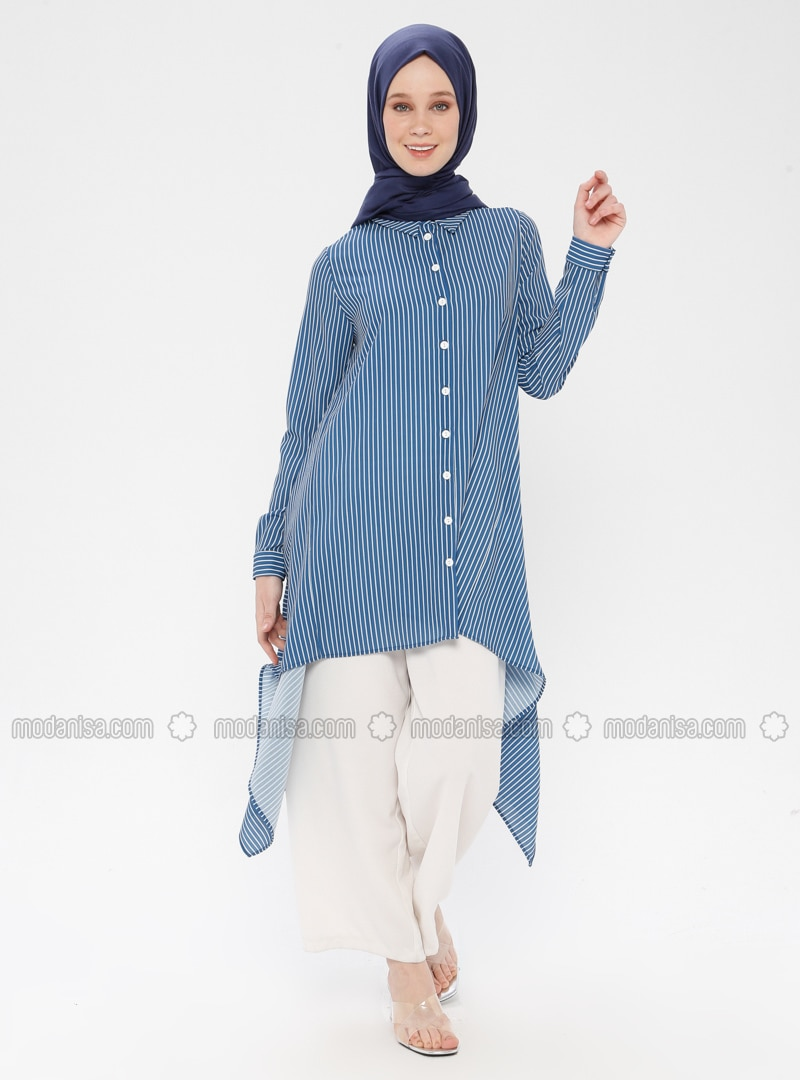 Navy Blue - Indigo - Stripe - Point Collar - Tunic