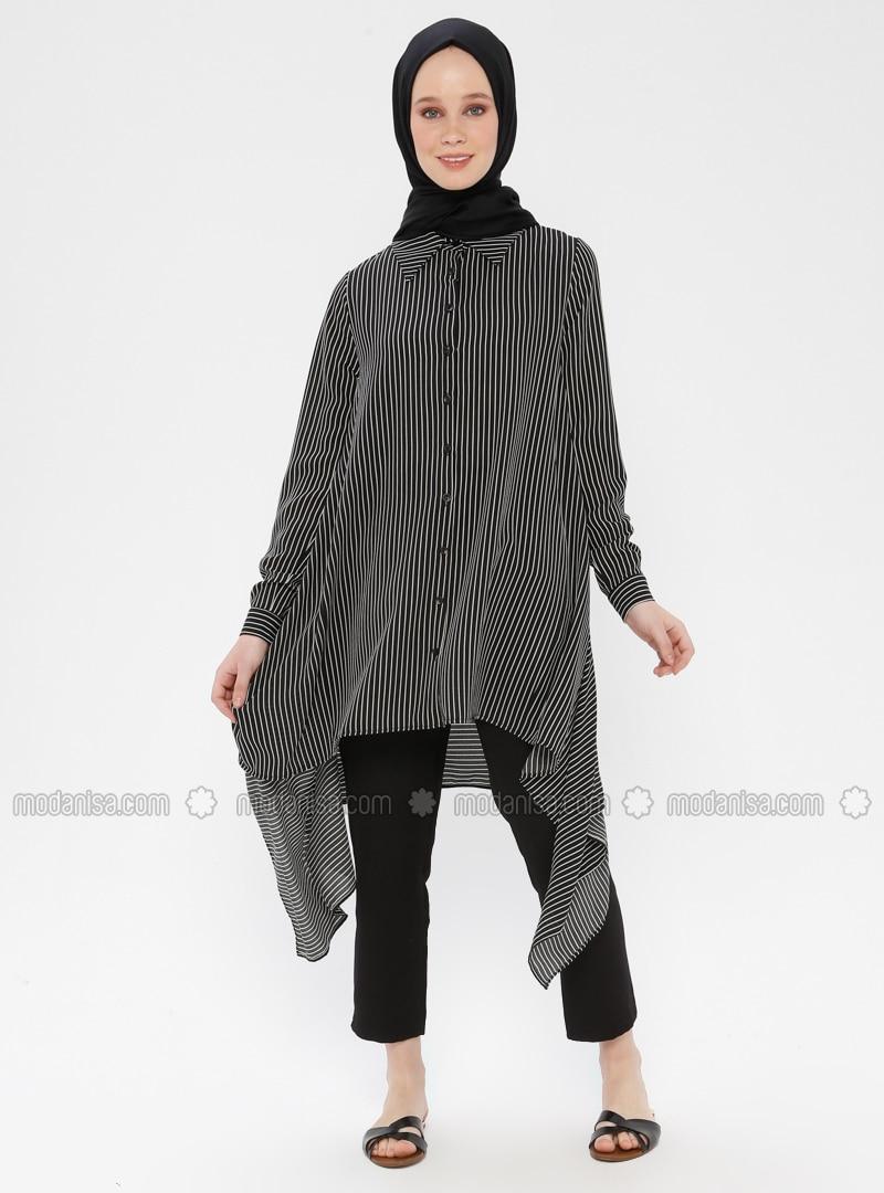 Black - Stripe - Point Collar - Tunic