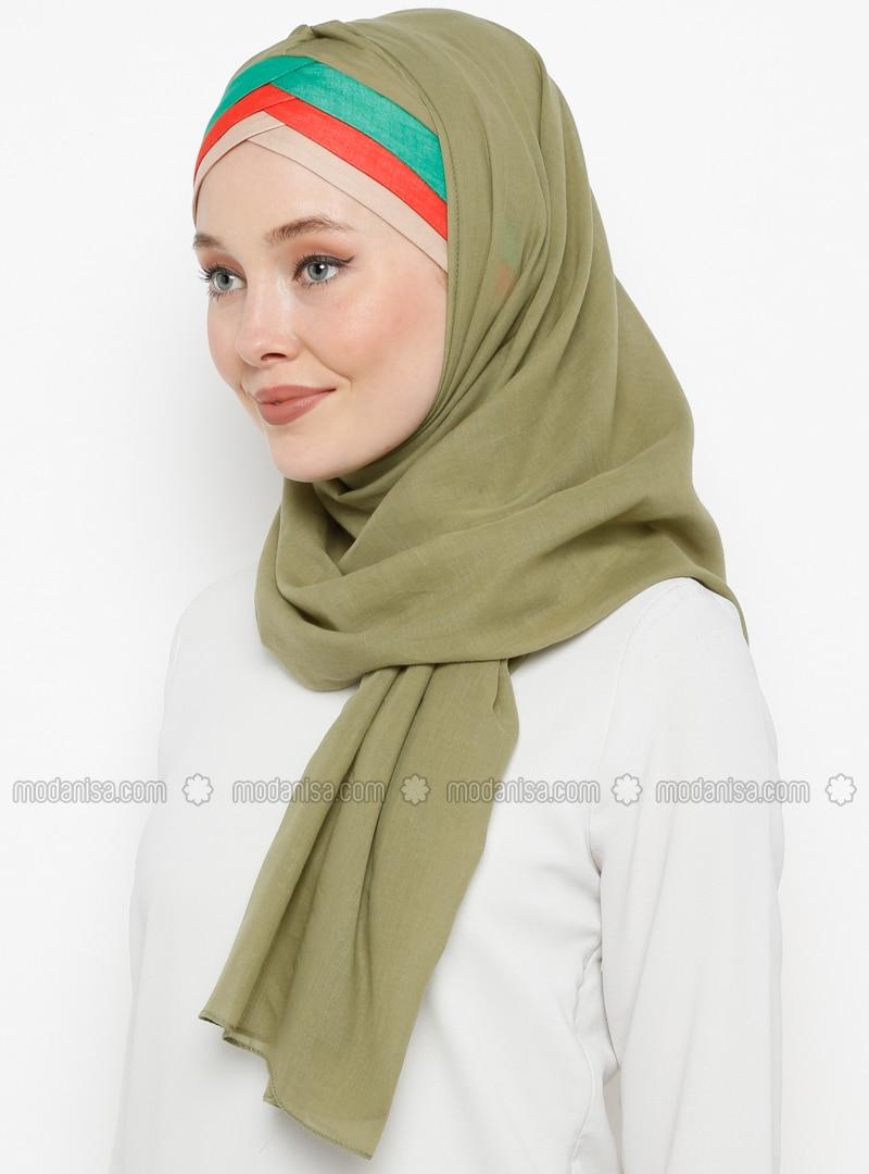 Green - Plain - Cotton - Instant Scarf