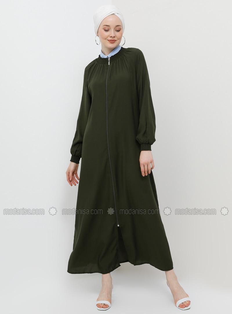 Khaki - Unlined - Crew neck - Viscose - Abaya
