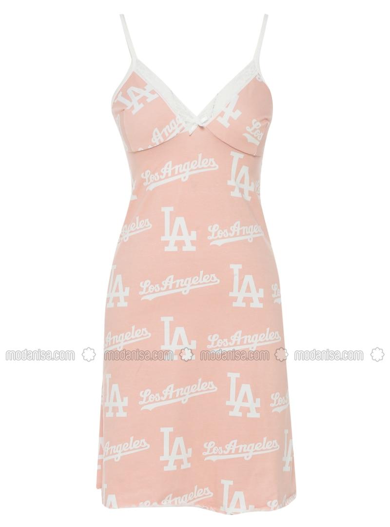 White - Salmon - Multi - V neck Collar - Cotton - Nightdress