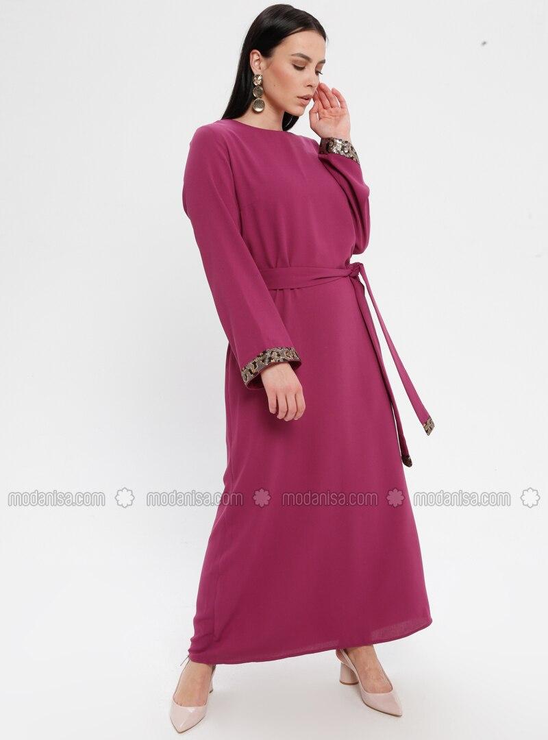 Rosa - Fuchsia - Rundhalsausschnitt - Ohne Innenfutter - Baumwolle - Hijab  Kleid