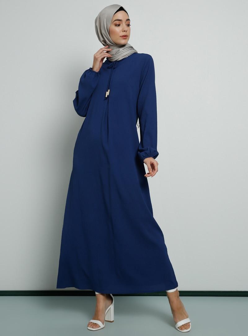 Tesettür Elbise Tavin İndigo Kadın 42