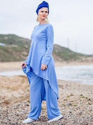 Blue - Unlined - Cotton - Suit