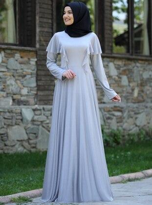 Gray - Crew neck - Fully Lined - Chiffon - Dress