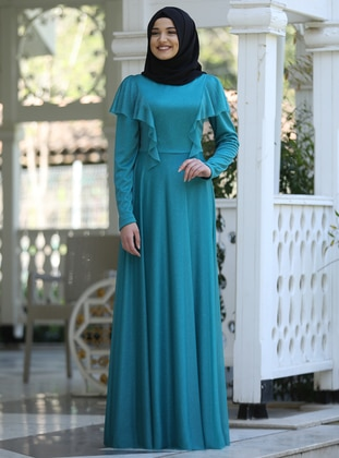 Turquoise - Crew neck - Fully Lined - Chiffon - Dress