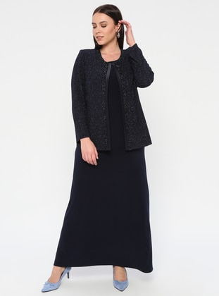 Navy Blue - Crew neck - Unlined - Plus Size Evening Suit - Arıkan