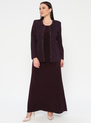 Plum - Crew neck - Unlined - Plus Size Evening Suit - Arıkan