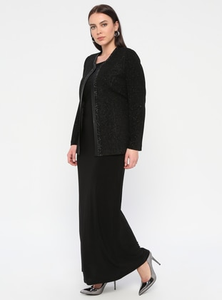 Black - Crew neck - Unlined - Plus Size Evening Suit - Arıkan