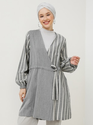Black - Stripe - Unlined - Shawl Collar - Cotton - Topcoat